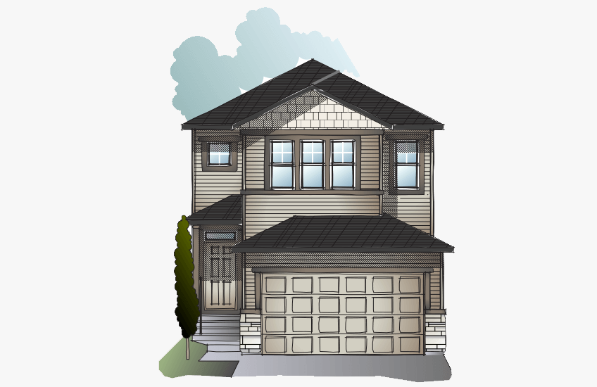 New Calgary Single Family Home Quick Possession Evo 2 in Cornerbrook, located at 95 Cornerbrook Common NE Built By Cardel Homes Calgary