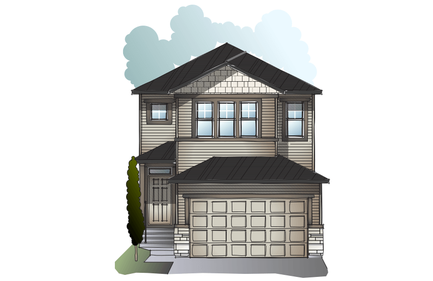 New Calgary Single Family Home Quick Possession Evo 2 in Cornerbrook, located at 95 Cornerbrook Common NE Built By Cardel Homes