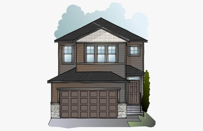 New Calgary Single Family Home Quick Possession Evo 2 in Cornerbrook, located at 164 Cornerbrook Common NE Built By Cardel Homes Calgary