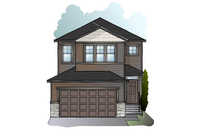 New Calgary Single Family Home Quick Possession Evo 2 in Cornerbrook, located at 164 Cornerbrook Common NE Built By Cardel Homes