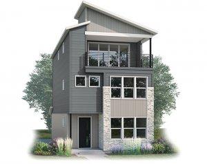 Lucia - Contemporary C Elevation - 2,442 sqft, 3 Bedroom, 3.5 Bathroom - Cardel Homes Denver
