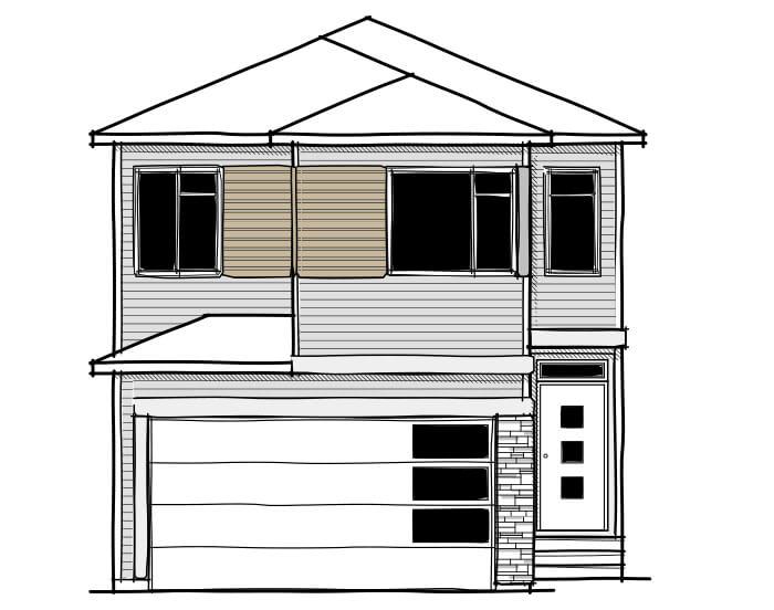 Rohan - Elevation A Elevation - 2,211 sqft, 4 Bedroom, 2.5 Bathroom - Cardel Homes Calgary