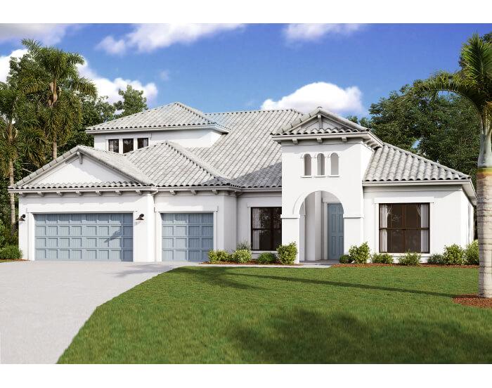 Henley w_Bonus - Mediterranean Elevation - 3,939 sqft, 5 Bedroom, 4 Bathroom - Cardel Homes Tampa