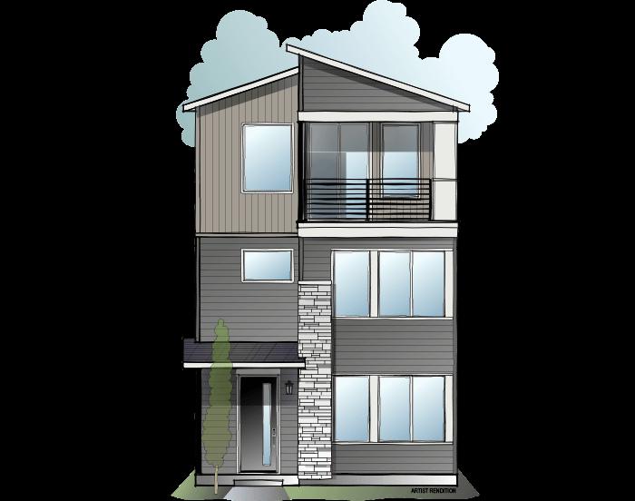 Avani - Contemporary C Elevation - 2,304 sqft, 3 Bedroom, 3.5 Bathroom - Cardel Homes Denver