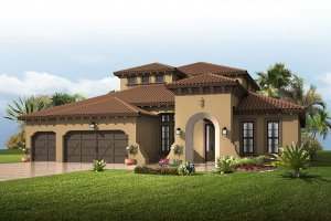 St.Lucia-SpanishColonial Elevation - 3,952 sqft, 5 Bedroom, 4 Bathroom - Cardel Homes Tampa