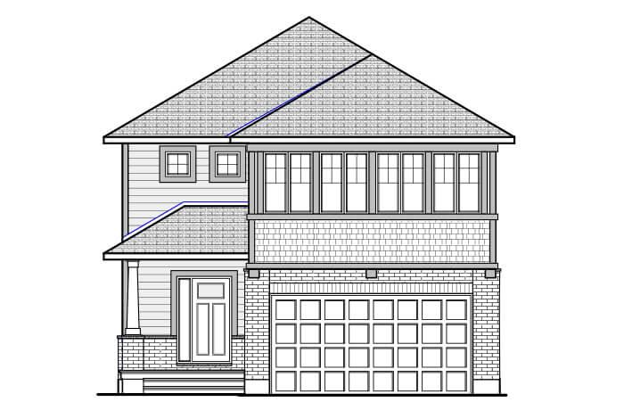 NORTH HAMPTON RR PS - Canadiana B1 Elevation - 2,433 sqft, 3-4 Bedroom, 2.5-3.5 Bathroom - Cardel Homes Ottawa