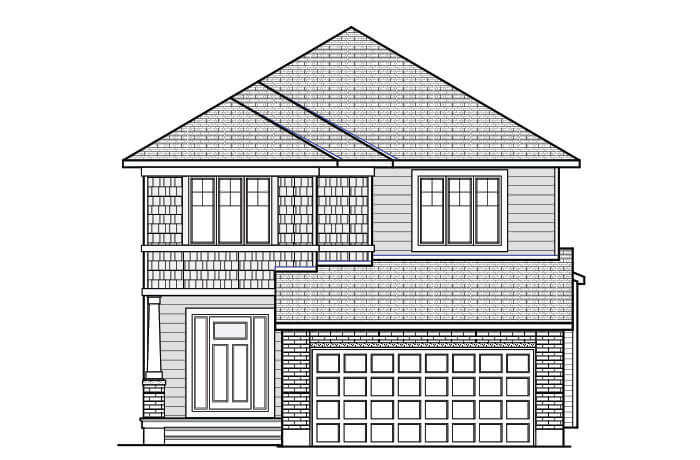RAYBURN RR PS - Canadiana B1 Elevation - 2,888 sqft, 4-5 Bedroom, 2.5-3.5 Bathroom - Cardel Homes Ottawa