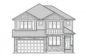 NICHOLS RR PS - Canadiana A1 Elevation - 2,456 sqft, 4-5 Bedroom, 2.5-3.5 Bathroom - Cardel Homes Ottawa