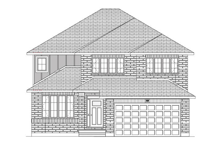 RIDGECREST RR PS - A2 Traditional Elevation - 2,815 sqft, 4 Bedroom, 2.5 Bathroom - Cardel Homes Ottawa