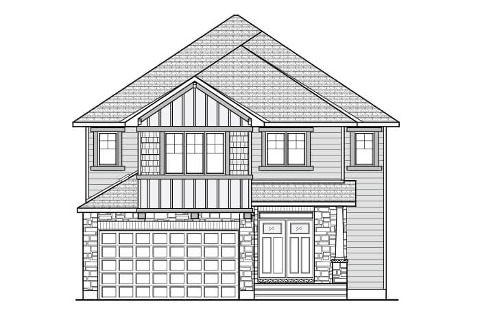 BRISTOL RR PS - A1 Canadiana Elevation - 2,646 sqft, 4 Bedroom, 2.5 Bathroom - Cardel Homes Ottawa