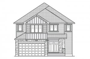 BRISTOL RR PS - A2 Traditional Elevation - 2,646 sqft, 4 Bedroom, 2.5 Bathroom - Cardel Homes Ottawa