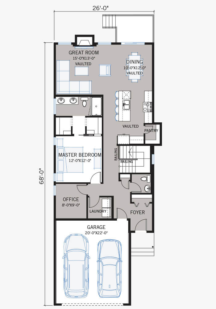 The Hudson home main floor quick possession in Walden, located at 80 Walgrove Terrace SE Calgary Built By Cardel Homes