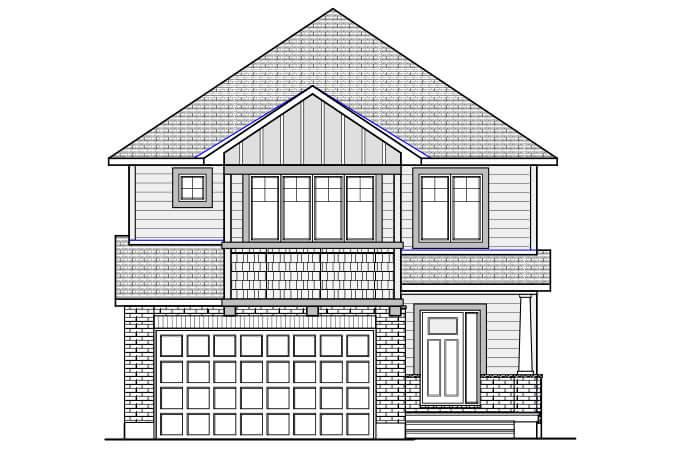 BERSHIRE 2 BSPS - Canadiana B1 Elevation - 2,570 sqft, 4 Bedroom, 2.5 Bathroom - Cardel Homes Ottawa
