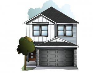 Tala YYC - A3 Contemporary Farmhouse Elevation - 2,067 sqft, 3-4 Bedroom, 2.5 - 3.5 Bathroom - Cardel Homes Calgary
