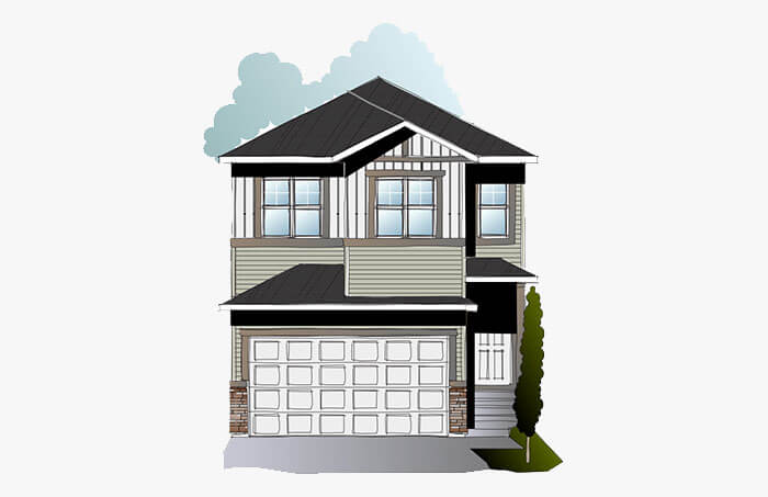 New Calgary Single Family Home Quick Possession Rohan 1 in Cornerbrook, located at 156 Cornerbrook Common NE Built By Cardel Homes Calgary