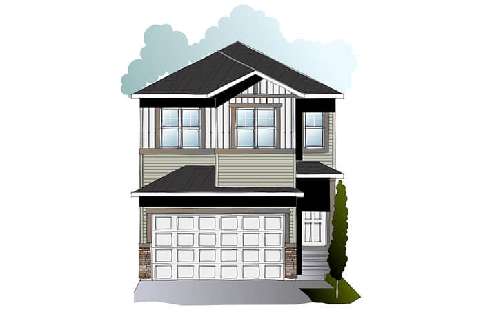 New Calgary Single Family Home Quick Possession Evo 1 in Savanna, located at 32 Savanna Alley NE  Built By Cardel Homes