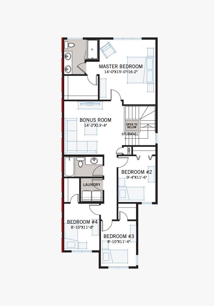 The Rohan 1 home upper floor quick possession in Cornerbrook, located at 156 Cornerbrook Common NE Calgary Built By Cardel Homes