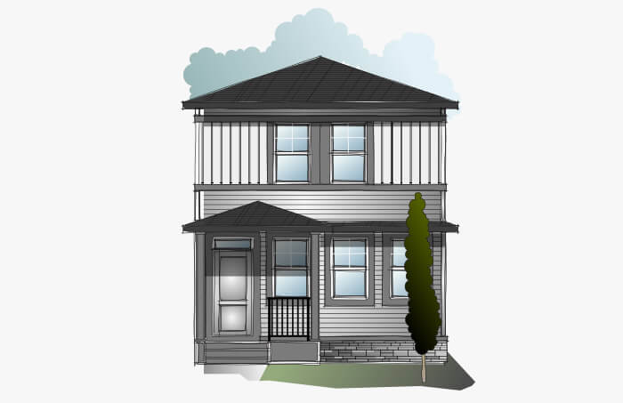 New Calgary Single Family Home Quick Possession Indigo 3 in Cornerbrook, located at 28 Cornergate Place NE Built By Cardel Homes Calgary
