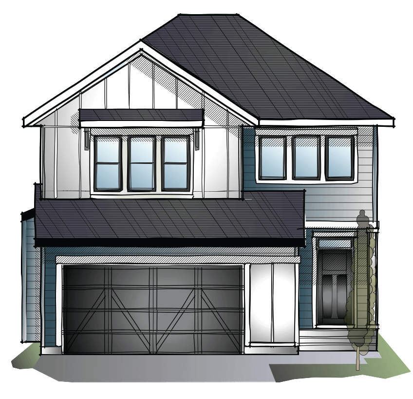 New Calgary Single Family Home Quick Possession Custom Grafton 2 in Shawnee Park, located at 8 Shawnee Green SW Built By Cardel Homes Calgary
