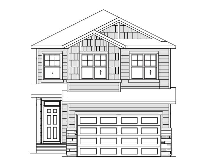 HAVEN - C1 Craftsman Elevation - 2,413 sqft, 5 Bedroom, 4 Bathroom - Cardel Homes Calgary