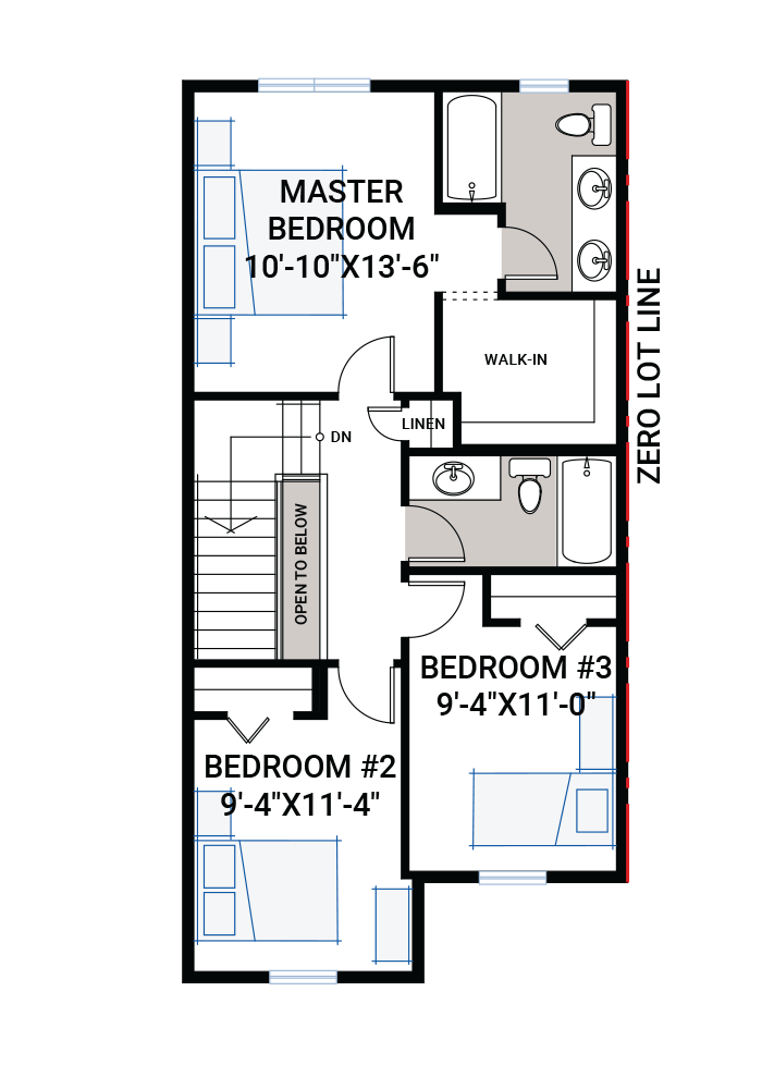 The Indigo 1 home upper floor quick possession in Cornerbrook, located at 3899 Cornerstone Blvd NE Calgary Built By Cardel Homes