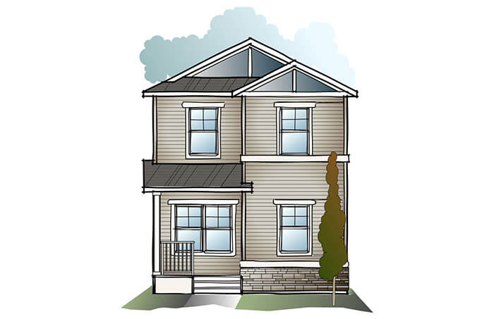 New Calgary Single Family Home Quick Possession Indigo 1 in Cornerbrook, located at 3899 Cornerstone Blvd NE Built By Cardel Homes