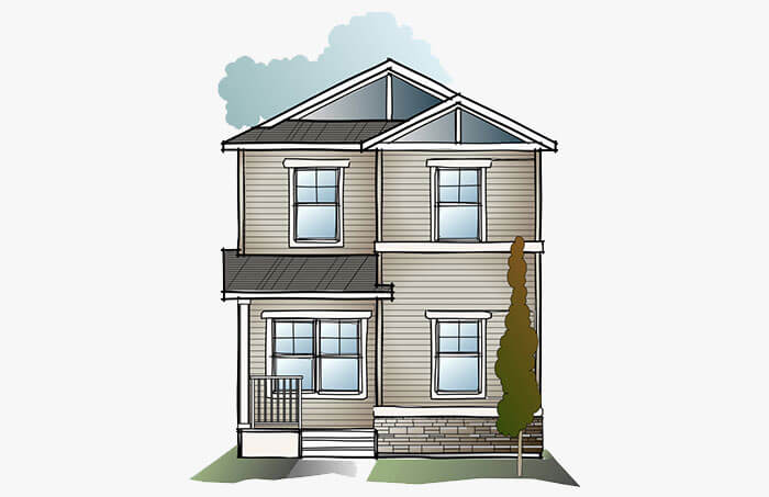 New Calgary Single Family Home Quick Possession Indigo 1 in Cornerbrook, located at 3899 Cornerstone Blvd NE Built By Cardel Homes Calgary