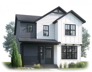 LOGAN AP - AP2 FARMHOUSE Elevation - 1,940 sqft, 3 Bedroom, 2.5 Bathroom - Cardel Homes Calgary