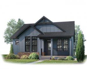 LORETTE AP - AP1 FARMHOUSE Elevation - 1,387 sqft, 1 Bedroom, 1.5 - 2.5 Bathroom - Cardel Homes Calgary
