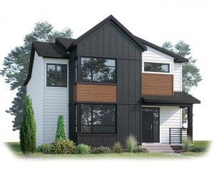 PINNACLE AP - AP3 MODERN FARMHOUSE Elevation - 2,437 sqft, 3 Bedroom, 2.5 Bathroom - Cardel Homes Calgary