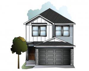 C3-FARMHOUSE Elevation - 2,067 sqft, 3-4 Bedroom, 2.5-3.5 Bathroom - Cardel Homes Calgary